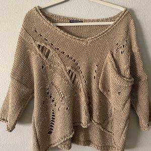 Brandy Melville Tan Crocheted Sweater